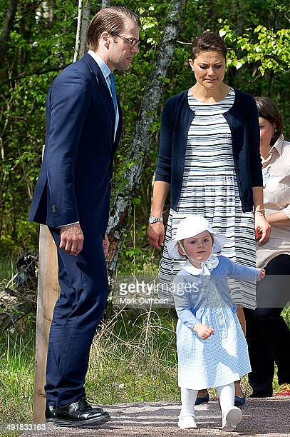 Prince Daniel Duke of Vastergotland and Crown Princess Victoria of Sweden with Princess Estelle of Sweden open a Fairytale Path at Lake Takern on May...