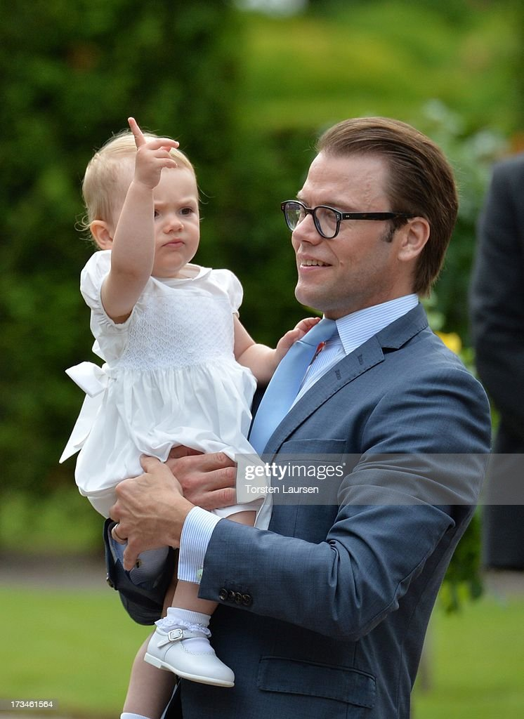 Prince Daniel, Duke of Vastergotland and daughter <a gi-track='captionPersonalityLinkClicked' href=/galleries/search?phrase=Princess+Estelle&family=editorial&specificpeople=8948207 ng-click='$event.stopPropagation()'>Princess Estelle</a> of Sweden attend Victoria Day celebrations at Solliden Castle on July 14, 2013 in Borgholm, Sweden.