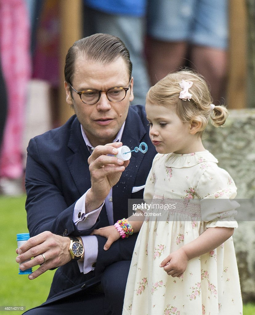 Prince Daniel, Duke of Vastergotland and <a gi-track='captionPersonalityLinkClicked' href=/galleries/search?phrase=Princess+Estelle&family=editorial&specificpeople=8948207 ng-click='$event.stopPropagation()'>Princess Estelle</a> of Sweden attending birthday celebrations as Crown Princess Victoria of Sweden celebrates her 37th birthday at Solliden on July 14, 2014 in Oland, Sweden.