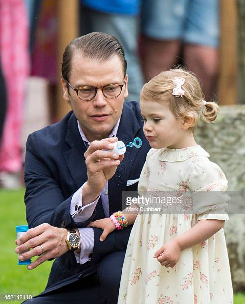 Prince Daniel Duke of Vastergotland and Princess Estelle of Sweden attending birthday celebrations as Crown Princess Victoria of Sweden celebrates...