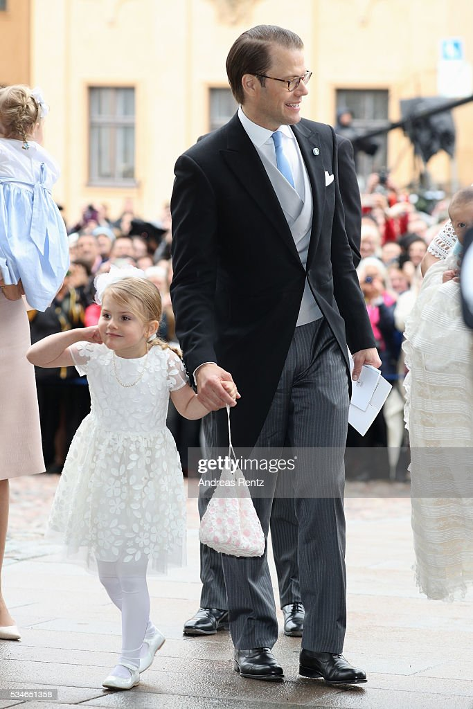 Prince Daniel, Duke of Vastergotland and <a gi-track='captionPersonalityLinkClicked' href=/galleries/search?phrase=Princess+Estelle&family=editorial&specificpeople=8948207 ng-click='$event.stopPropagation()'>Princess Estelle</a> of Sweden are seen after the christening of Prince Oscar of Sweden at Royal Palace of Stockholm on May 27, 2016 in Stockholm, Sweden.