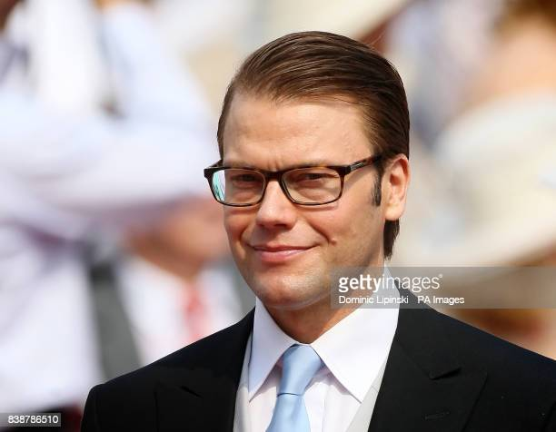 Prince Daniel Duke of Vastergotland arrives at the Place du Palais Monte Carlo for the religious ceremony of the wedding of Charlene Wittstock to...