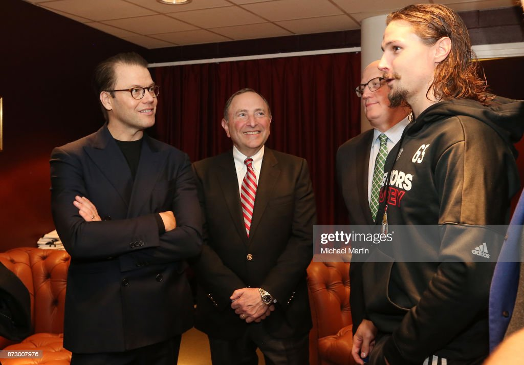Prince Daniel, Duke of Vastergotland, Gary Bettman and Bill Daly chat with Erik Karlsson after the Colorado Avalanche at the Ericsson Globe on November 11, 2017 in Stockholm, Sweden.
