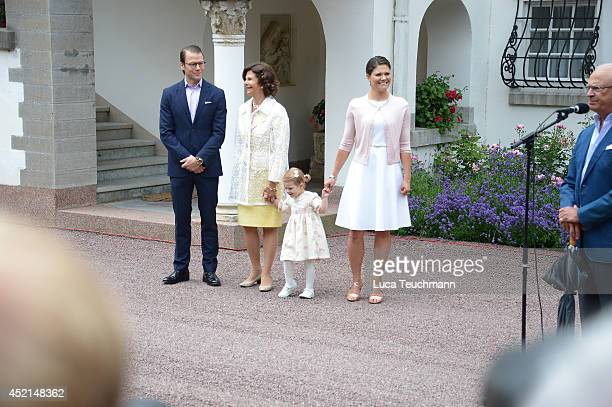 Prince Daniel Duke of Vastergotland Queen Silvia of Sweden Princess Estelle of Sweden and Crown Princess Victoria of Sweden attend the Victoria Day...