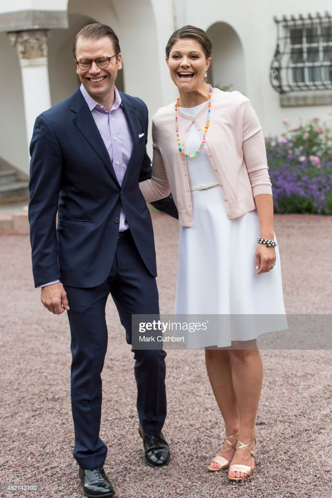 Prince Daniel, Duke of Vastergotland with <a gi-track='captionPersonalityLinkClicked' href=/galleries/search?phrase=Crown+Princess+Victoria+of+Sweden&family=editorial&specificpeople=160266 ng-click='$event.stopPropagation()'>Crown Princess Victoria of Sweden</a> to celebrate her 37th birthday at Solliden on July 14, 2014 in Oland, Sweden.