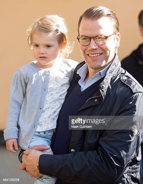 Prince Daniel Duke of Vastergotland with Princess Estelle on her first day at preschool on August 25 2014 in Stockholm Sweden