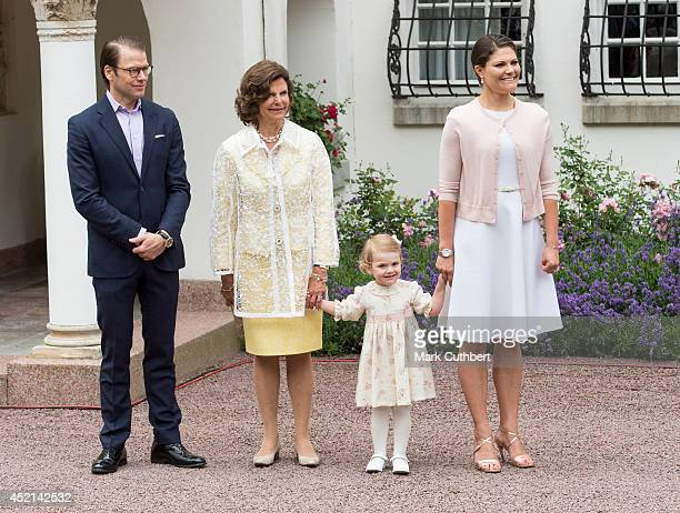 Prince Daniel Duke of Vastergotland with Queen Silvia of Sweden and Princess Estelle of Sweden and Crown Princess Victoria of Sweden celebrating her...