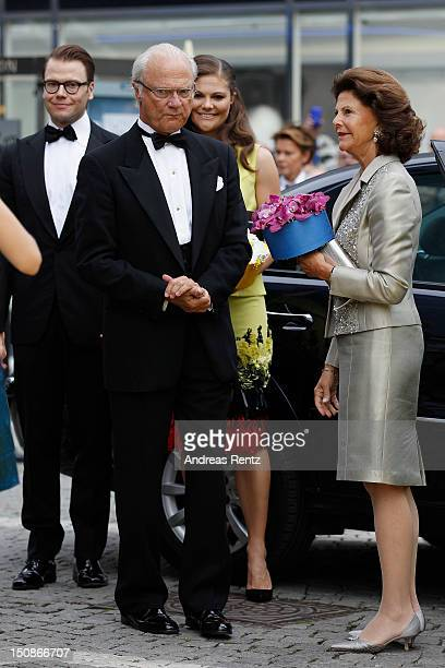Prince Daniel King Carl XVI Gustaf of Sweden Princess Victoria of Sweden and Queen Silvia of Sweden arrive for the Polar Music Prize at Konserthuset...