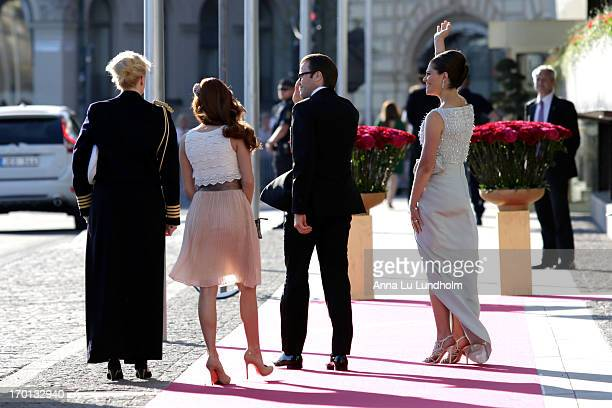 Prince Daniel of Sweden and Crown Princess Victoria of Sweden arrive at a private dinner on the eve of the wedding of Princess Madeleine and...