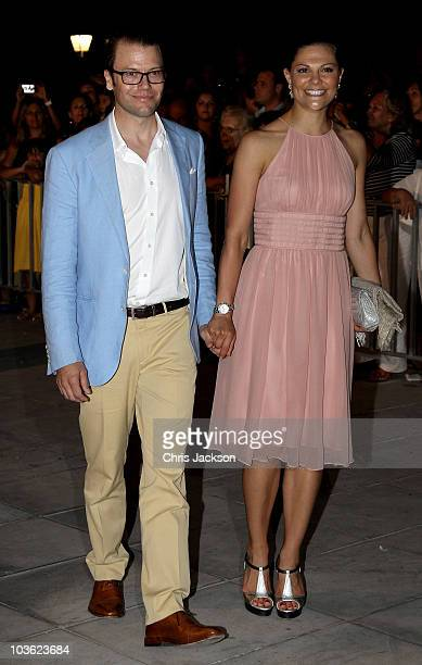 Prince Daniel of Sweden and Crown Princess Victoria of Sweden attend a prewedding reception at the Poseidon Hotel on August 24 2010 in Spetses...