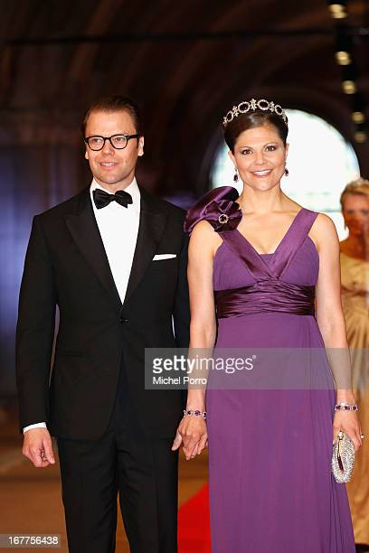 Prince Daniel of Sweden and Crown Princess Victoria of Sweden attend a dinner hosted by Queen Beatrix of The Netherlands ahead of her abdication at...