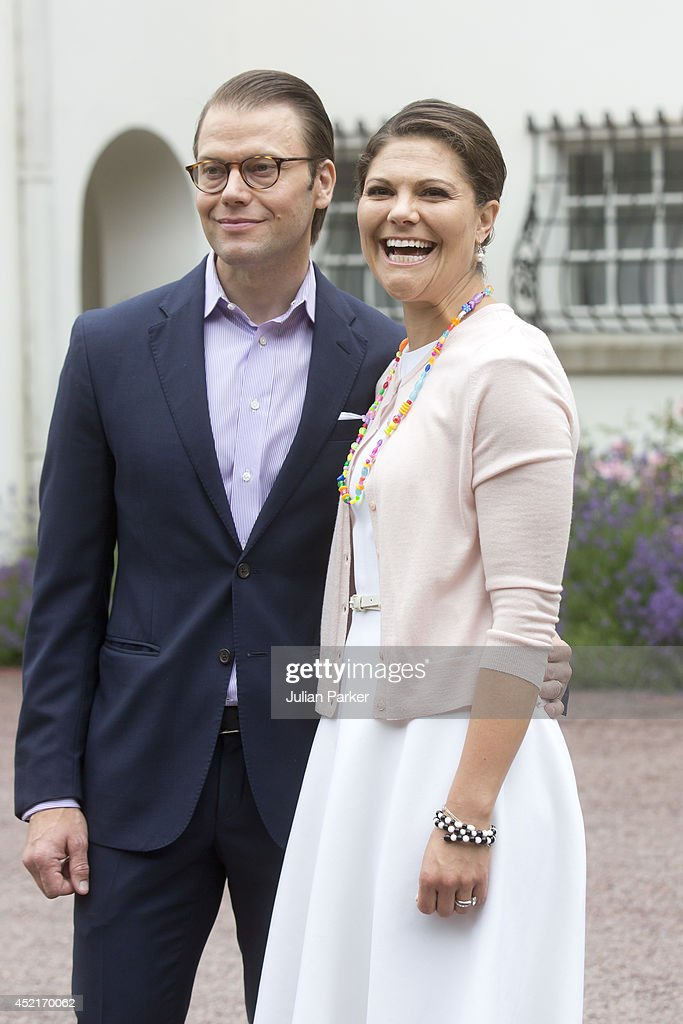 Prince Daniel of Sweden and <a gi-track='captionPersonalityLinkClicked' href=/galleries/search?phrase=Crown+Princess+Victoria+of+Sweden&family=editorial&specificpeople=160266 ng-click='$event.stopPropagation()'>Crown Princess Victoria of Sweden</a> attend the Crown Princess's 37th Birthday celebrations at Solliden, Borgholm on July 14, 2014 in Oland, Sweden.