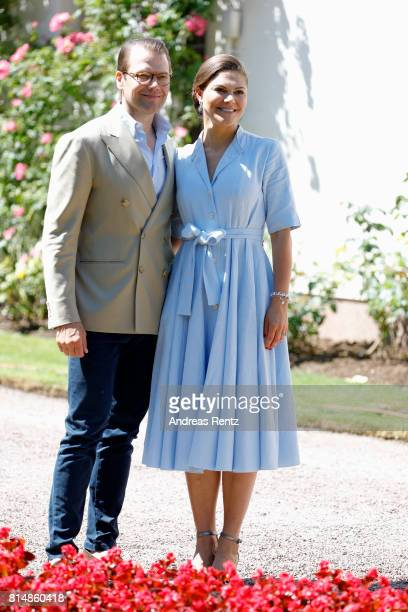 Prince Daniel of Sweden and Crown Princess Victoria of Sweden pose in front of Solliden Palace to celebrate the 40th birthday of Crown Princess...