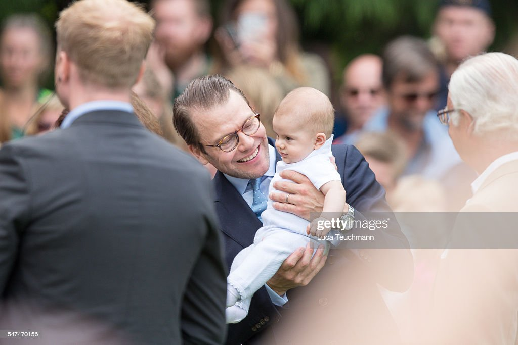 Prince Daniel of Sweden and Prince Oscar of Swede arrives for Birthday celebrations of Crown Princess Victoria of Sweden at Solliden Palace on July 14, 2016 in Oland, Sweden.