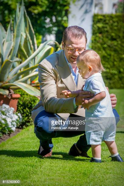 Prince Daniel of Sweden and Prince Oscar of Sweden is seen meeting the people gathered in front of Solliden Palace to celebrate the 40th birthday of...