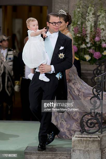 Prince Daniel of Sweden and Princess Estelle of Sweden attend the wedding of Princess Madeleine of Sweden and Christopher O'Neill at the Royal Chapel...