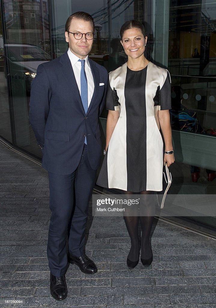 Prince Daniel of Sweden and Princess Victoria of Sweden arrive at City Hall during an official visit to London on November 7, 2013 in London, England.