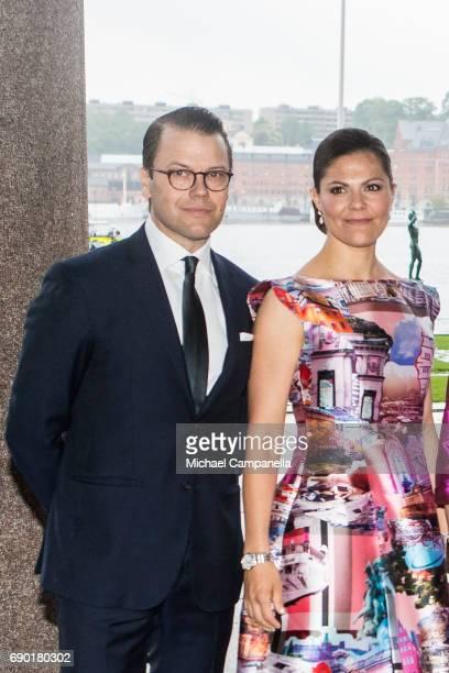 Prince Daniel of Sweden and Princess Victoria of Sweden arrive Stockholm city hall for an official dinner on May 30 2017 in Stockholm Sweden