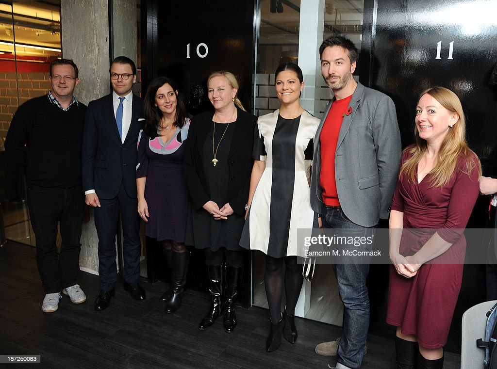 Prince Daniel of Sweden (2nd L) and Princess Victoria of Sweden (3rd R) at 'Central Working' during an official visit to London on November 7, 2013 in London, England.