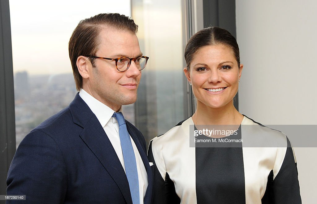 Prince Daniel Of Sweden and Princess Victoria of Sweden at 'Level 39' during an official visit to London on November 7, 2013 in London, England.