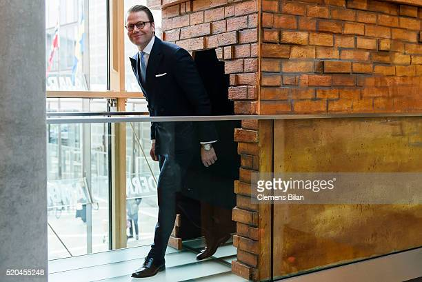 Prince Daniel of Sweden attends the opening of the exhibition 'Frech wild wunderbar schwedische Kinderbuchwelten' at the Swedish Embassy on April 11...