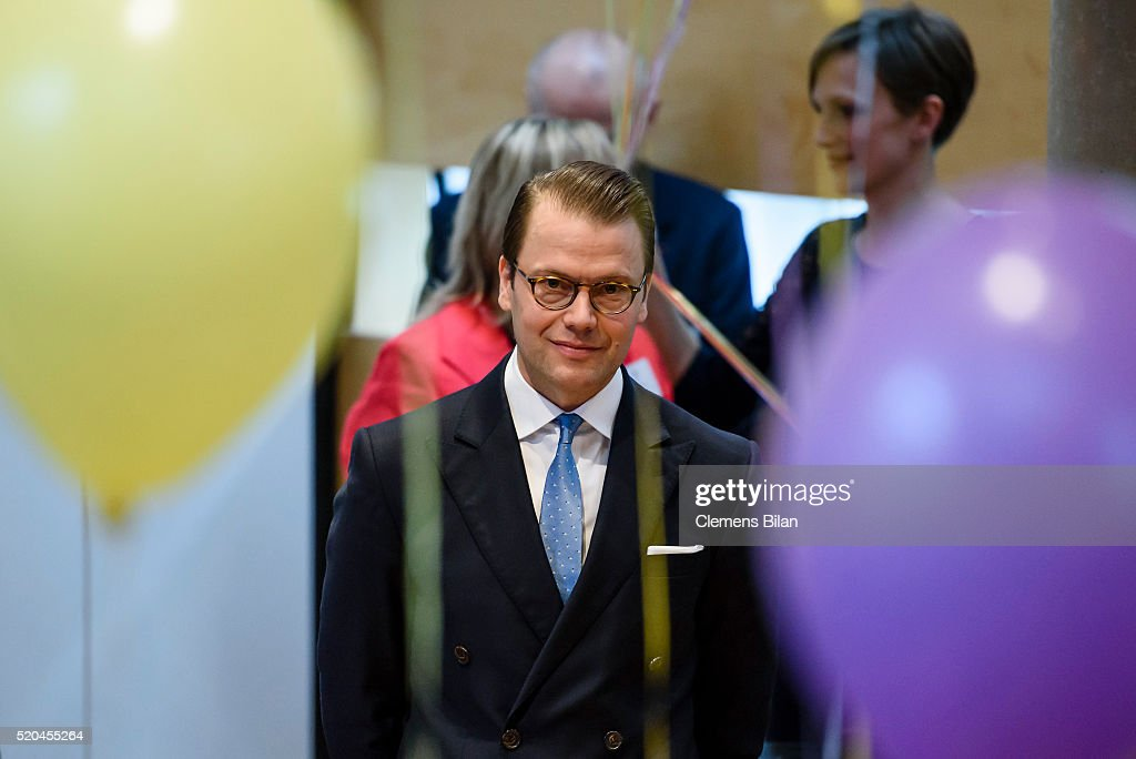 Prince Daniel of Sweden attends the opening of the exhibition 'Frech, wild & wunderbar - schwedische Kinderbuchwelten' at the Swedish Embassy on April 11, 2016 in Berlin, Germany.