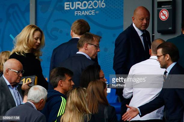 Prince Daniel of Sweden Duke of Vastergotland and Helena Seger attend the UEFA EURO 2016 Group E match Sweden against Ireland for the Euro 2016...