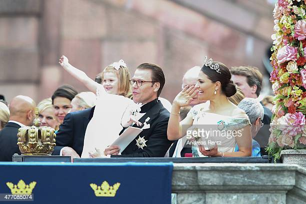 Prince Daniel of Sweden her daughter Princess Estelle and Crown Princess Victoria of Sweden seen after the royal wedding ceremony of Prince Carl...