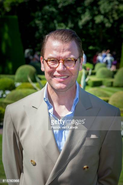 Prince Daniel of Sweden is seen meeting the people gathered in front of Solliden Palace to celebrate the 40th birthday of Crown Princess Victoria of...