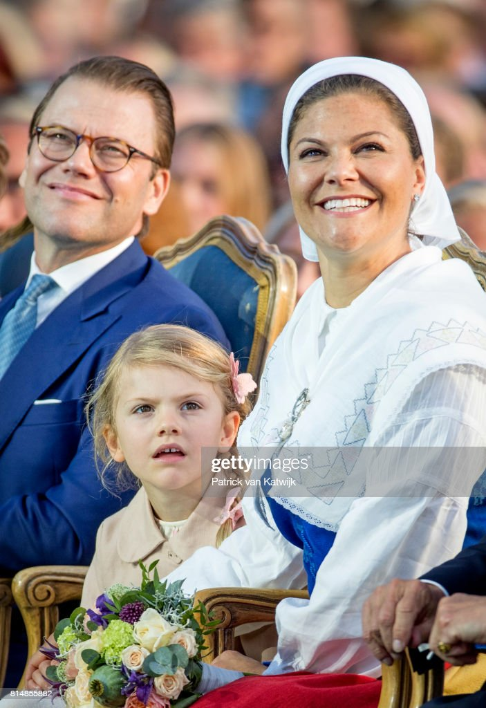 Prince Daniel of Sweden, Princess Estelle of Sweden and Crown Princess Victoria of Sweden attend the Victoria day celebration on the occasion of The Crown Princess Victoria of Sweden's 40th birthday celebrations at stadion on July 14, 2017 in Borgholm, Sweden.