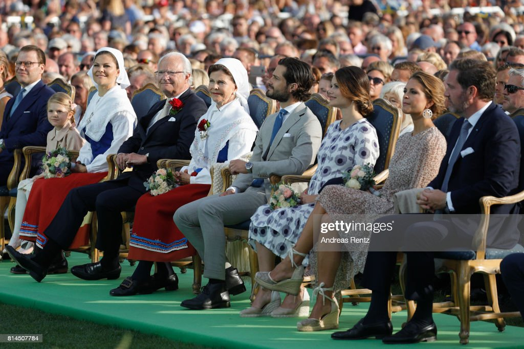 Prince Daniel of Sweden, Princess Estelle of Sweden, Crown Princess Victoria of Sweden, King Carl Gustaf of Sweden, Queen Silvia of Sweden, Prince Carl Philip of Sweden, Princess Sofia of Sweden, Princess Madeleine of Sweden and Christopher O'Neill attend the celebrations of Crown Princess Victoria of Sweden's 40th birthday at Borgholm IP on July 14, 2017 in Borgholm, Sweden.