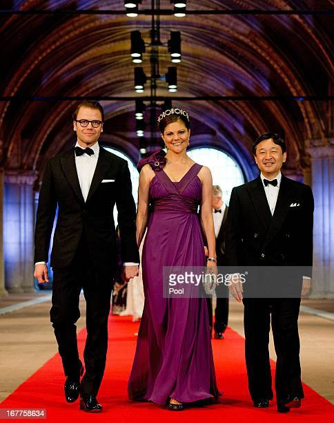 Prince Daniel of Sweden Princess Victoria of Sweden and Crown Prince Naruhito of Japan arrive to attend a dinner hosted by Queen Beatrix of The...