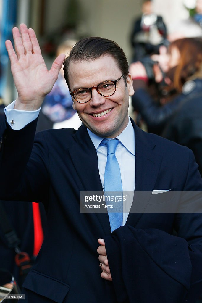 Prince Daniel of Sweden waves to supporters after his visit at the town hall on January 29, 2014 in Dusseldorf, Germany.