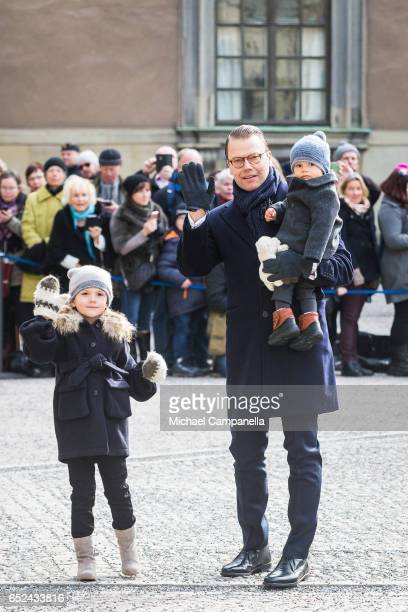 Prince Daniel Princess Estelle and Prince Oscar of Sweden attend a Name day celebration for Princess Victoria at the Royal Palace on March 12 2017 in...