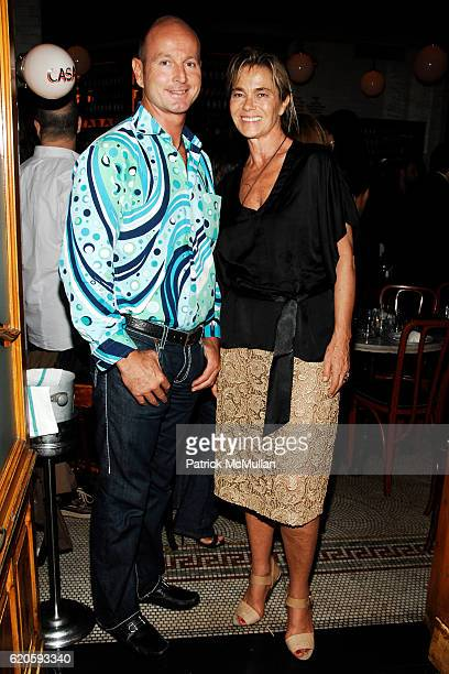 Prince Dimitri of Yugoslavia and Nadine Johnson attend Private Dinner hosted by CARLOS JEREISSATI CEO of IGUATEMI at Pastis on September 6 2008 in...