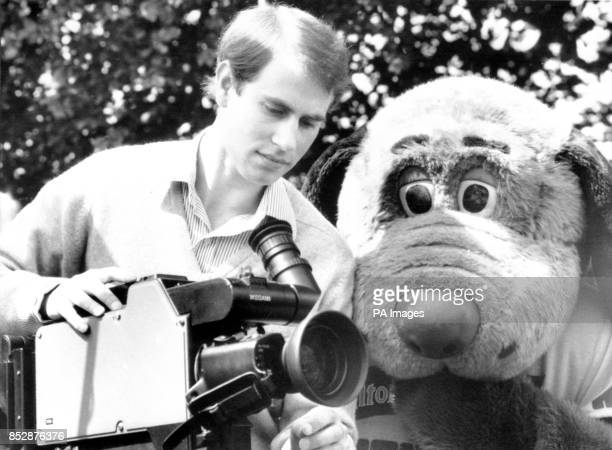 Prince Edward and a friend get to grips with a TV camera at Alton Towers Theme Park in preparation for the filming of the Grand Knockout Tournament...