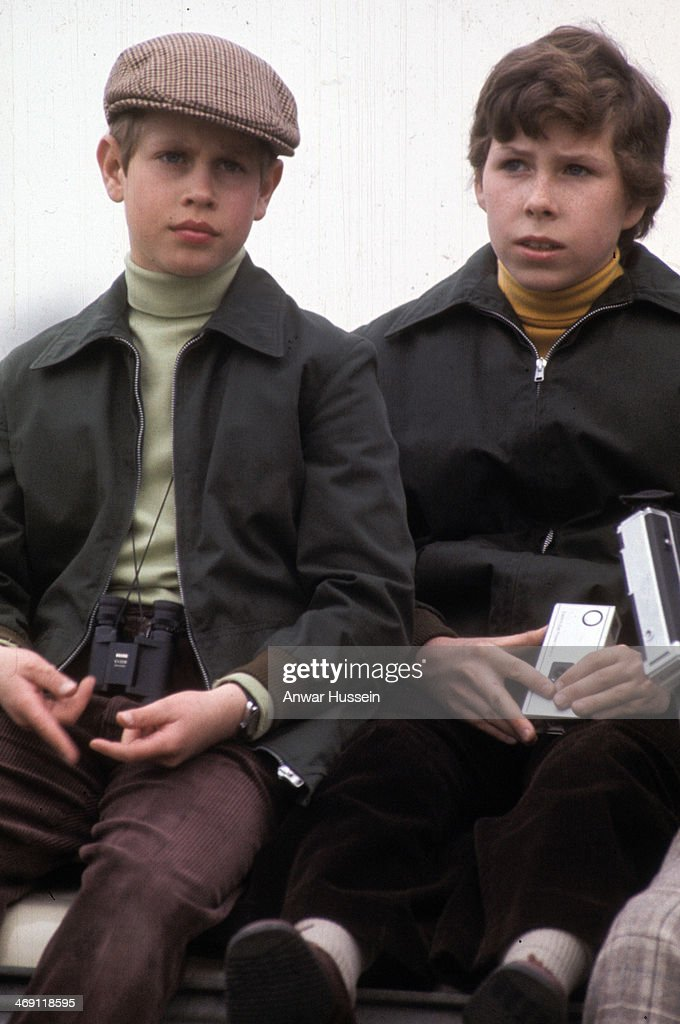 Prince Edward and his cousin Viscount Linley attend Badminton Horse Trials on April 10, 1976 in Badminton, England.