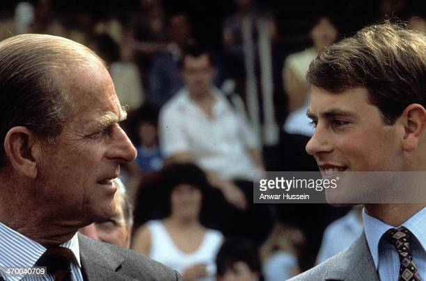 Prince Edward and his father Prince Philip Duke of Edinburgh attend a charity fun day to raise funds for The Prince Philip Trust at Ascot racecourse...
