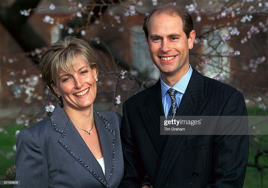 Prince Edward And Miss Sophie Rhys-jones On The Day Of Their Engagement.