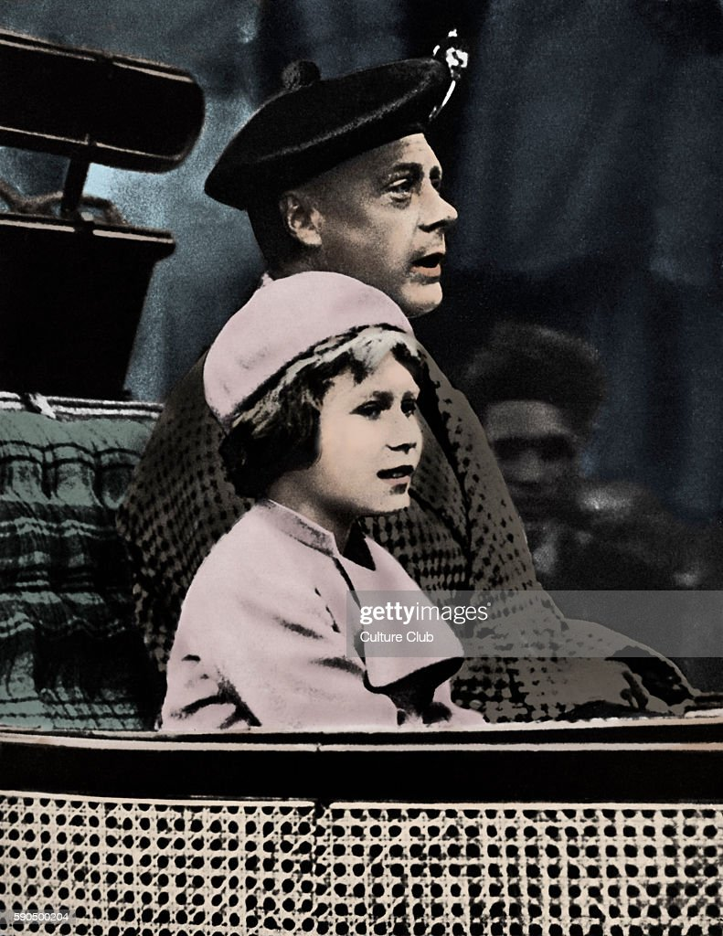 Prince Edward and Princess Elizabeth returning from Crathie Church in Balmoral Scotland June 1933