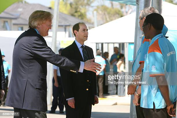 Prince Edward and Ron Walker at a private visit to the Commonwealth Games Village to meet with athletes and volunteers 11 March 2006 SMH Picture by...