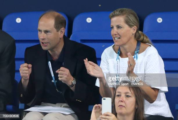 Prince Edward and Sophie Countess of Wessex watch the Women's 400m Freestyle Final