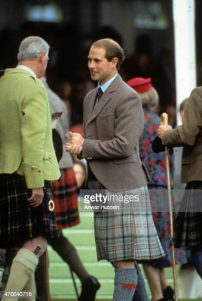 Prince Edward attends the Braemar Highland Games on September 08 1992 in Braemar Scotland