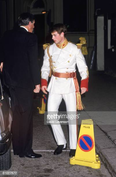 Prince Edward dressed in a fancy dress outfit leaves the Raj Ball on December 4 1984 at the Lyceum Theatre in London
