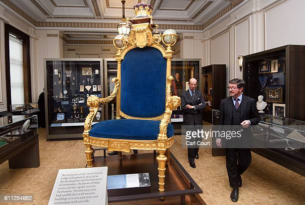 Prince Edward Duke of Kent also the 10th Grand Master of the United Grand Lodge of England is shown the Grand Master's Chair by Curator Mark Dennis...