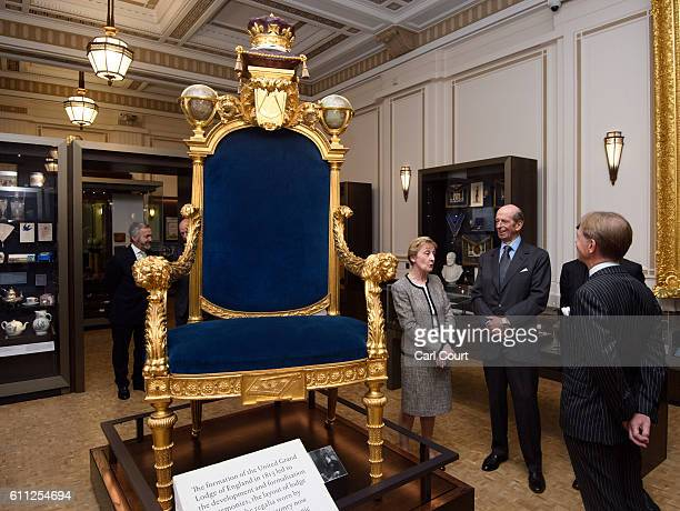 Prince Edward Duke of Kent also the 10th Grand Master of the United Grand Lodge of England is shown the Grand Master's Chair by Director of the...