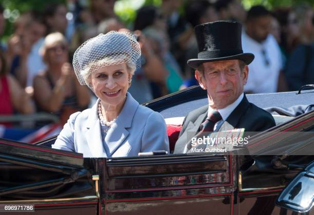 Prince Edward Duke of Kent and Birgitte Duchess of Gloucester during the annual Trooping The Colour parade on June 17 2017 in London England