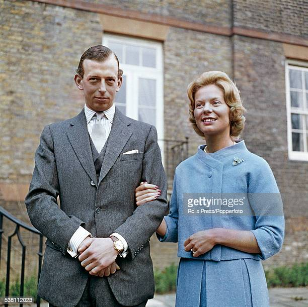 Prince Edward Duke of Kent and his fiancee Katharine Worsley pictured together in the gardens of Kensington Palace in London following the...