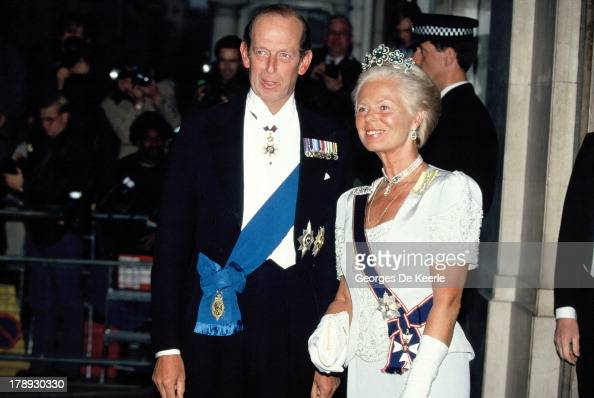 Prince Edward Duke of Kent and Katharine Duchess of Kent attend the State Banquet given by Former Polish President Lech Walesa in honor of the Queen...