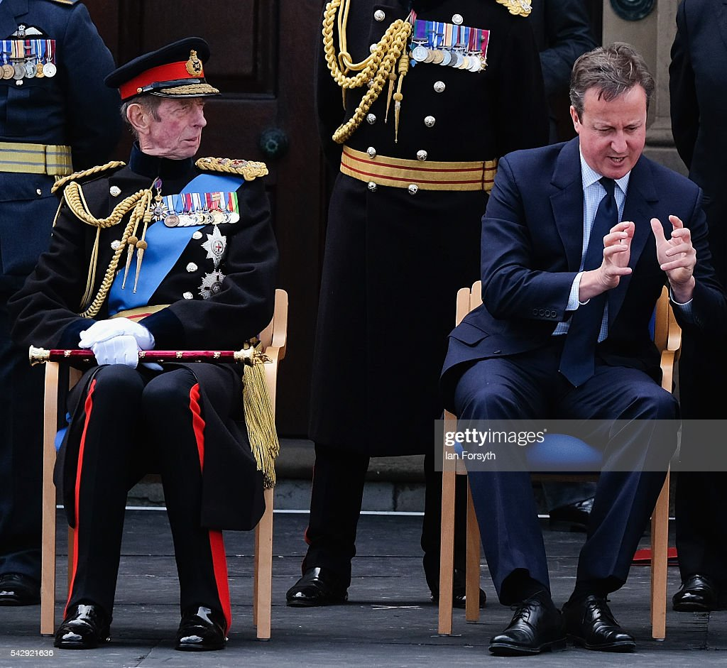 Prince Edward, Duke of Kent and Prime Minister David Cameron wait to watch the main military parade at the Armed Forces Day National Event on June 25, 2016 in Cleethorpes, England. The visit by the Prime Minister came the day after the country voted to leave the European Union. Armed Forces Day is an annual event that gives an opportunity for the country to show its support for the men and women in the British Armed Forces.